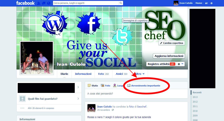 inserire avvenimento importante in facebook