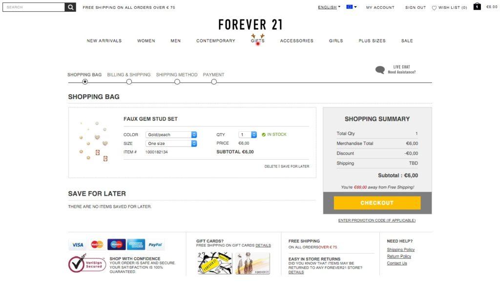 Forever 21 esempio checkout a step