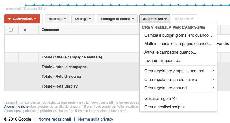 Aggiungere nuova regola automatizzata Google AdWords