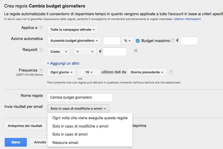 Notifica email regole automatizzate Google AdWords