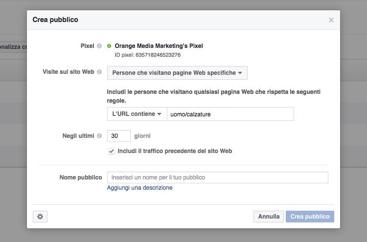 Costruire elenchi di pubblico in Facebook Ads