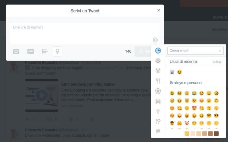 Inserisci emoji nei tweet