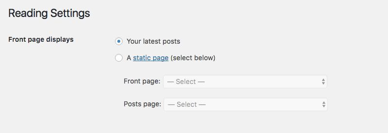 home page statica con WordPress